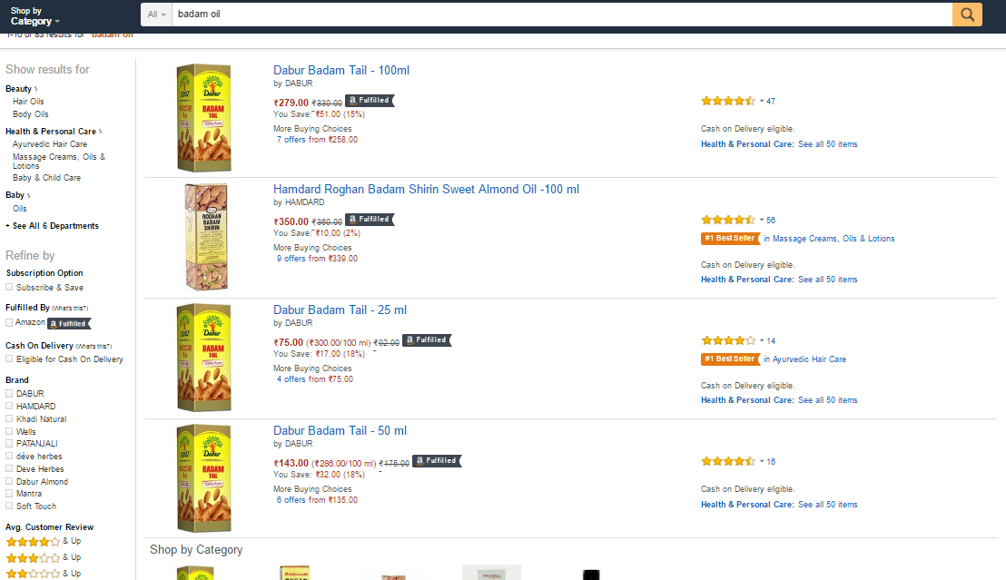 Amazon best seller's rank in product search results
