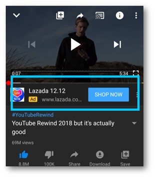 Video ads on YouTube
