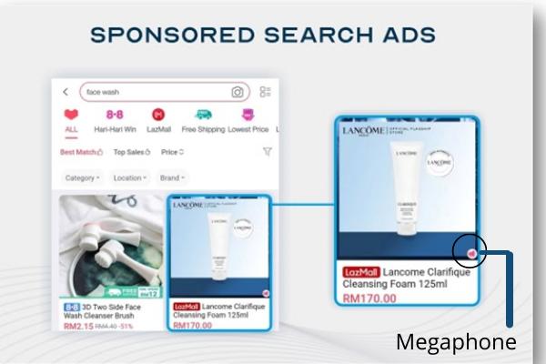 Lazada Sponsored search ads