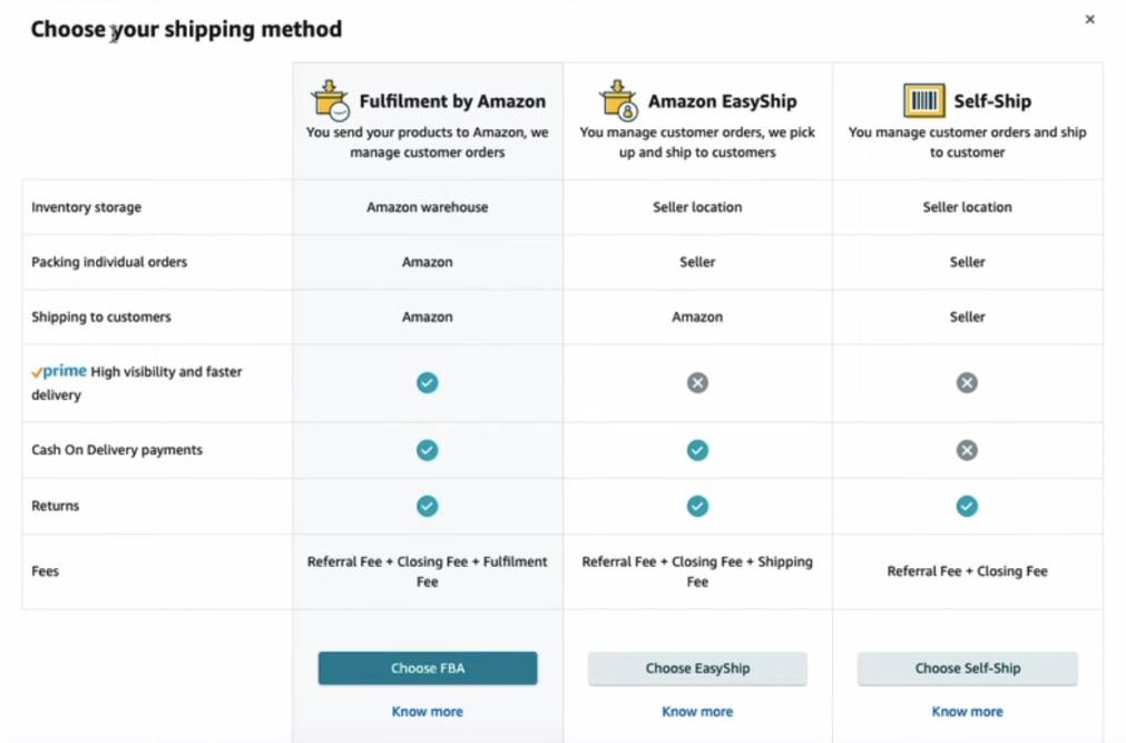 Amazon Shipping Comparison