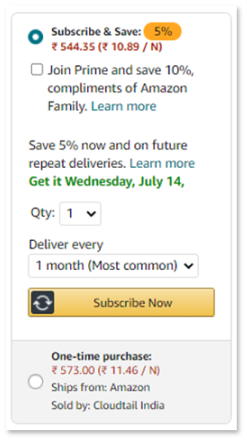 Amazon Subscribe and Save feature